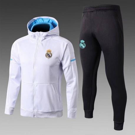 с капюшоном cпортивные костюмы Реал мадрид белый