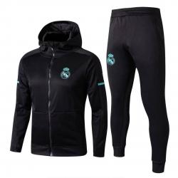 с капюшоном cпортивные костюмы Реал мадрид черный