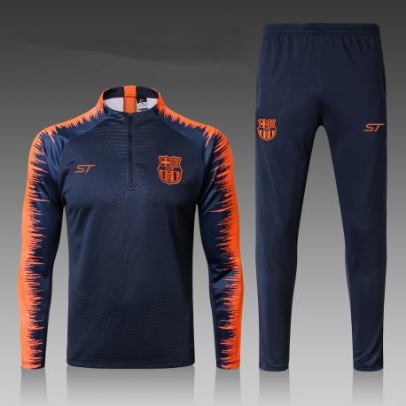 Барселона детский тренеровочный костюм темно темно синий 2018